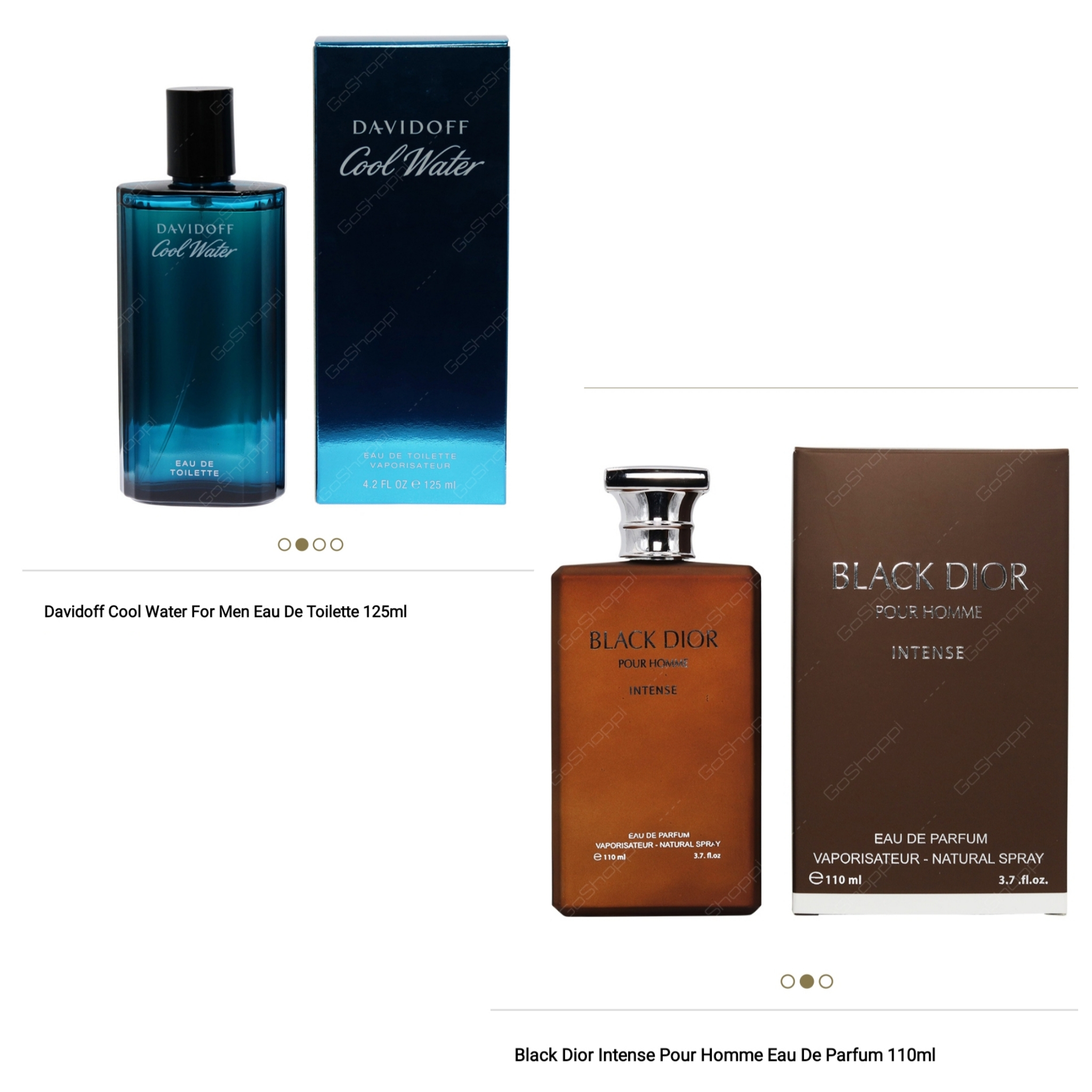 Black Dior Intense 100ml and Davidoff Cool Water Men 125ml Offer