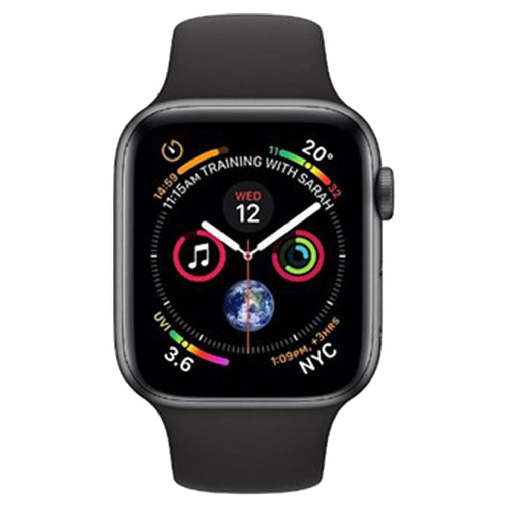 Apple Watch Series 4 GPS + Cellular 40mm Space Grey Aluminium Case With Black Sport Band - MTVD2AE/A