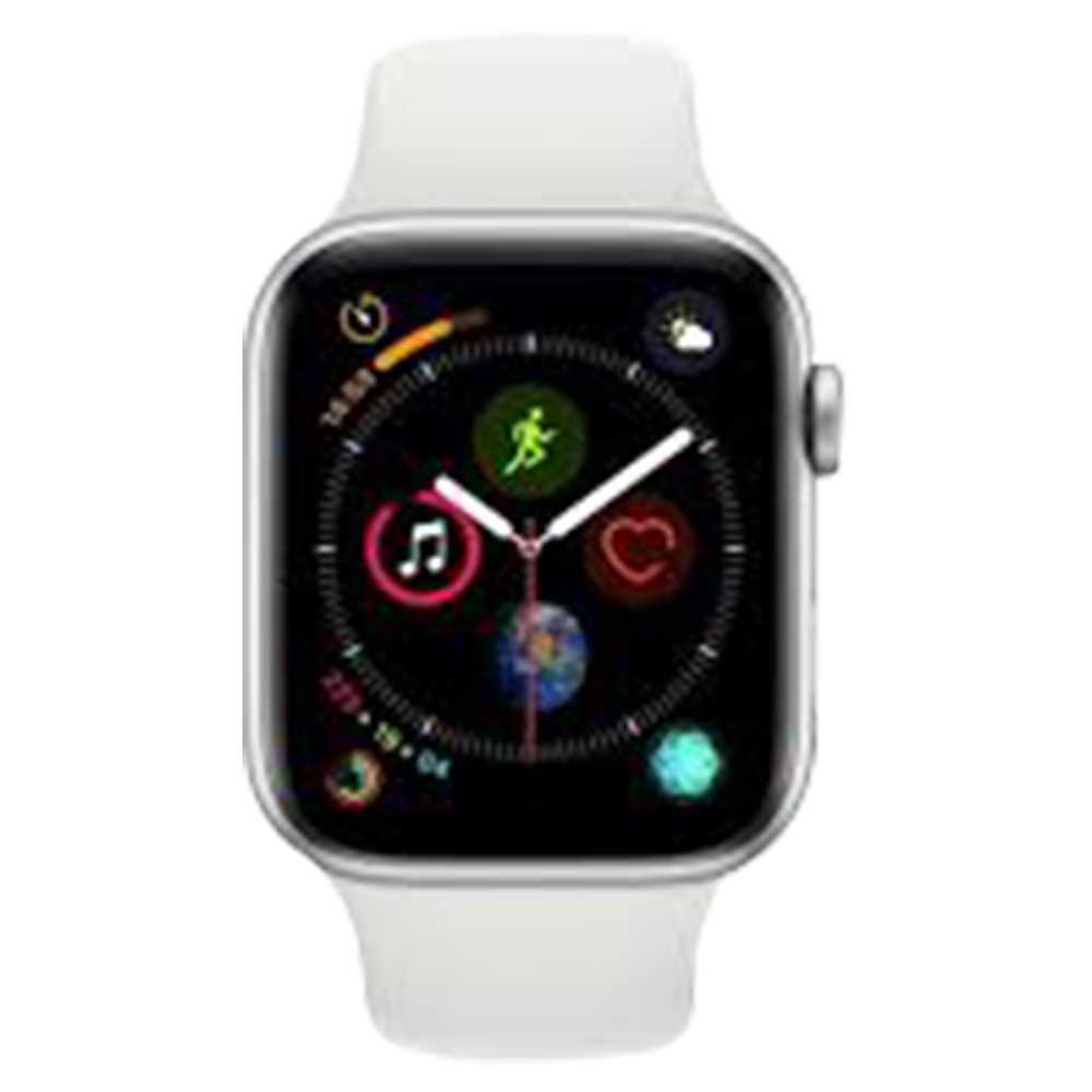 Apple Watch Series 4 With GPS and Cellular Connectivity Silver Aluminium Case With White Sport Band 44mm - MTVR2AE/A-WS