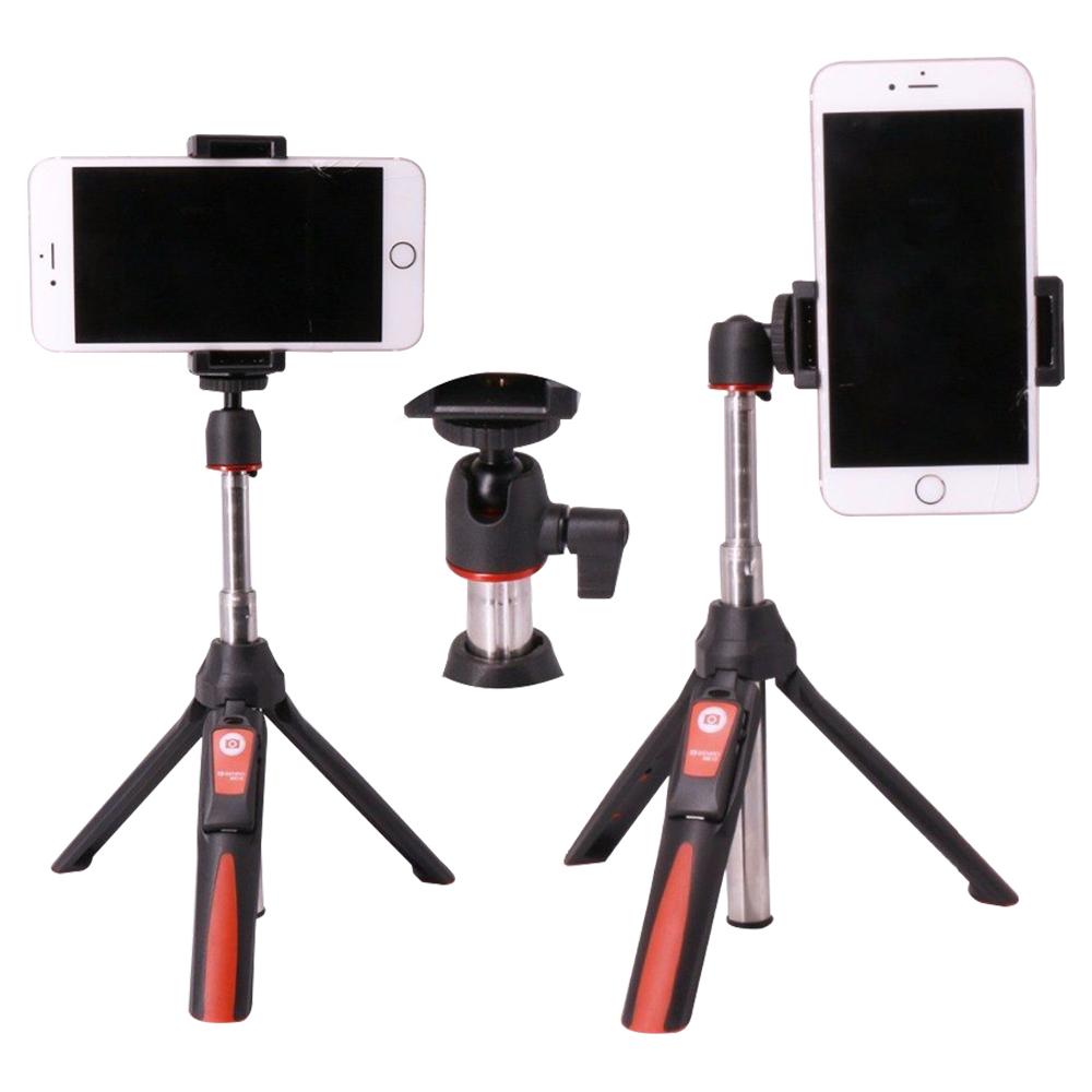 Benro MK10 Extendable Tripod On The Go Smart Mini Selfie Stick - Black-Red-Silver