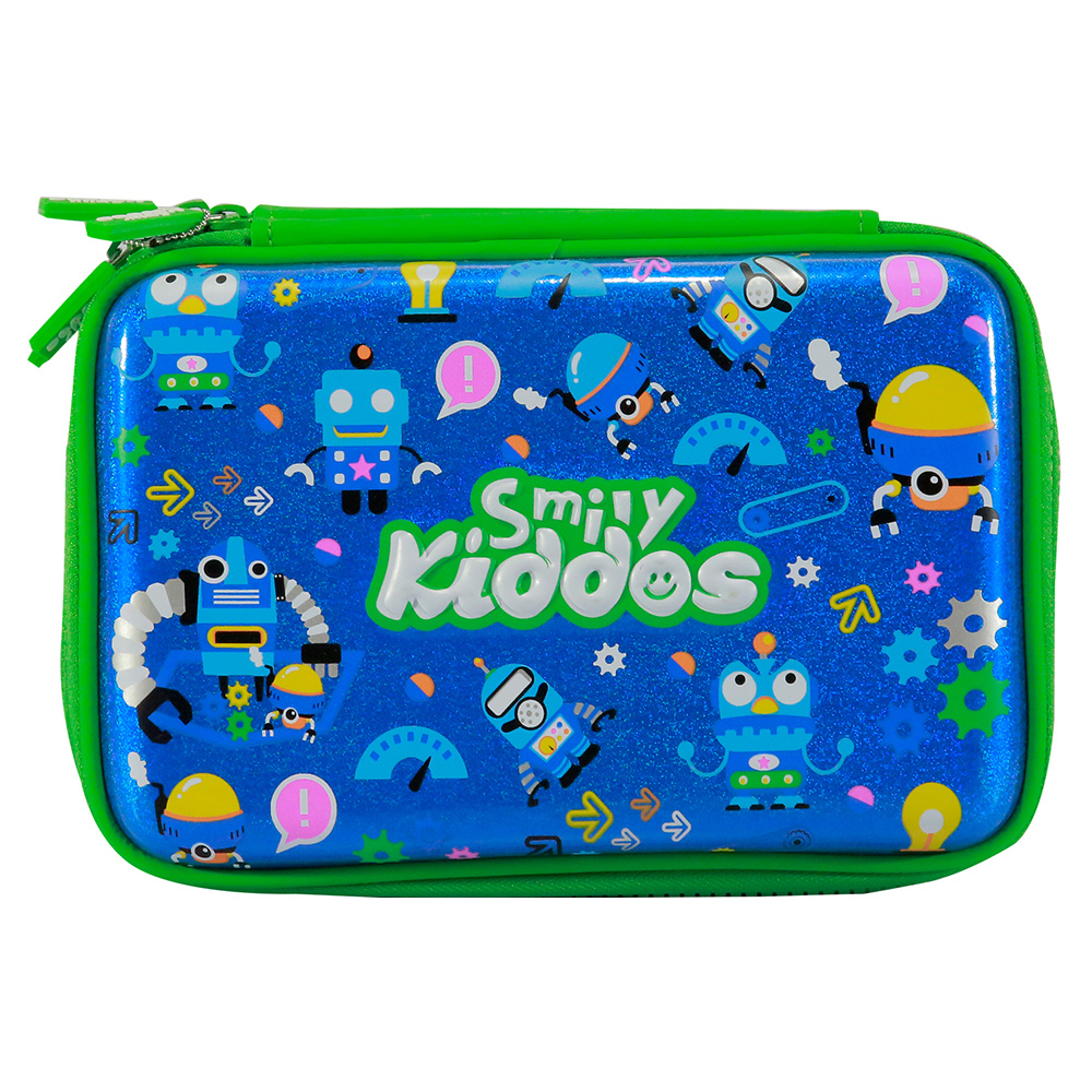 Fancy Double Compartment Pencil Case - Blue