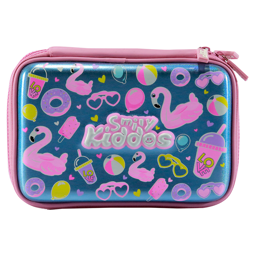 Fancy Double Compartment Pencil Case - Light Blue