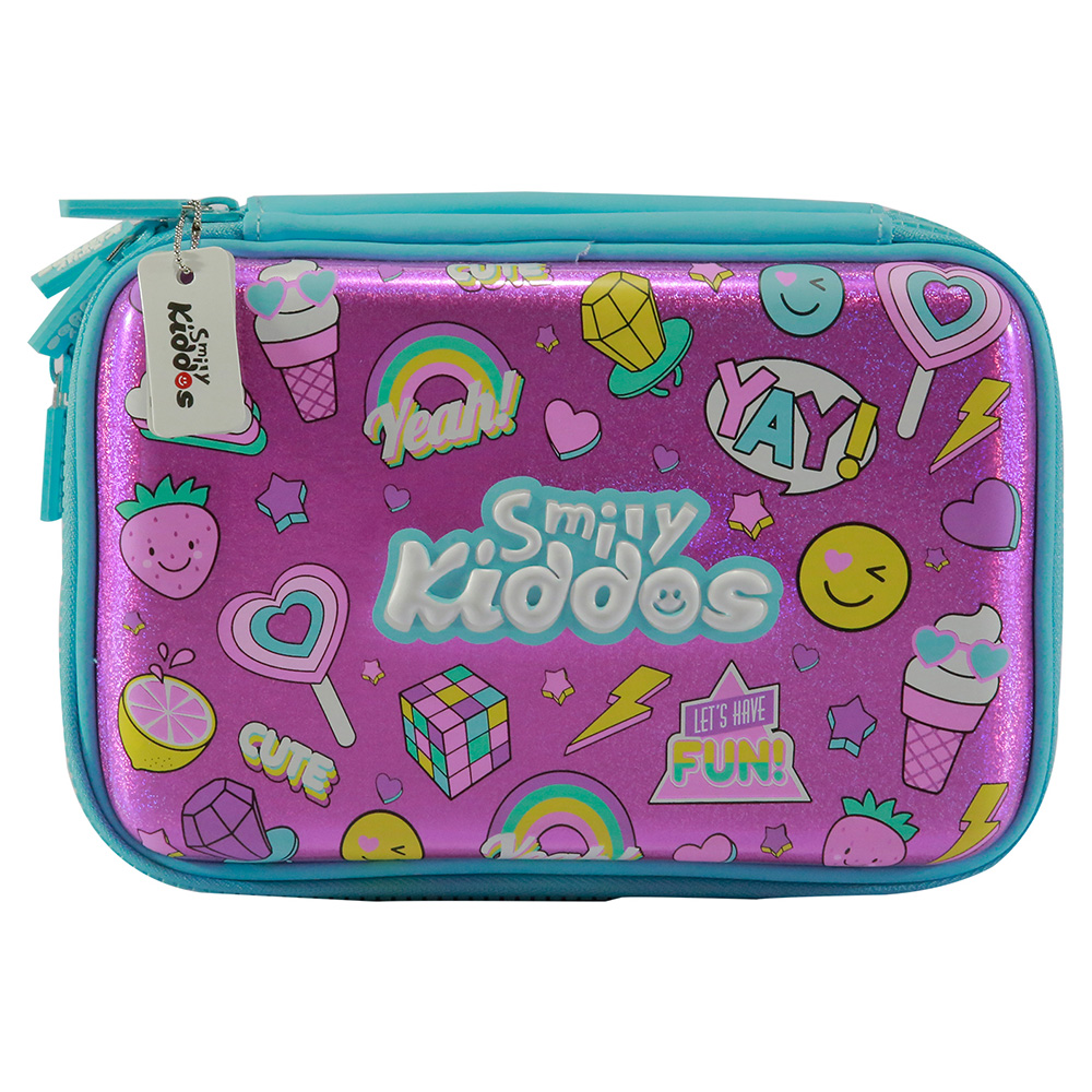 Fancy Double Compartment Pencil Case - Pink