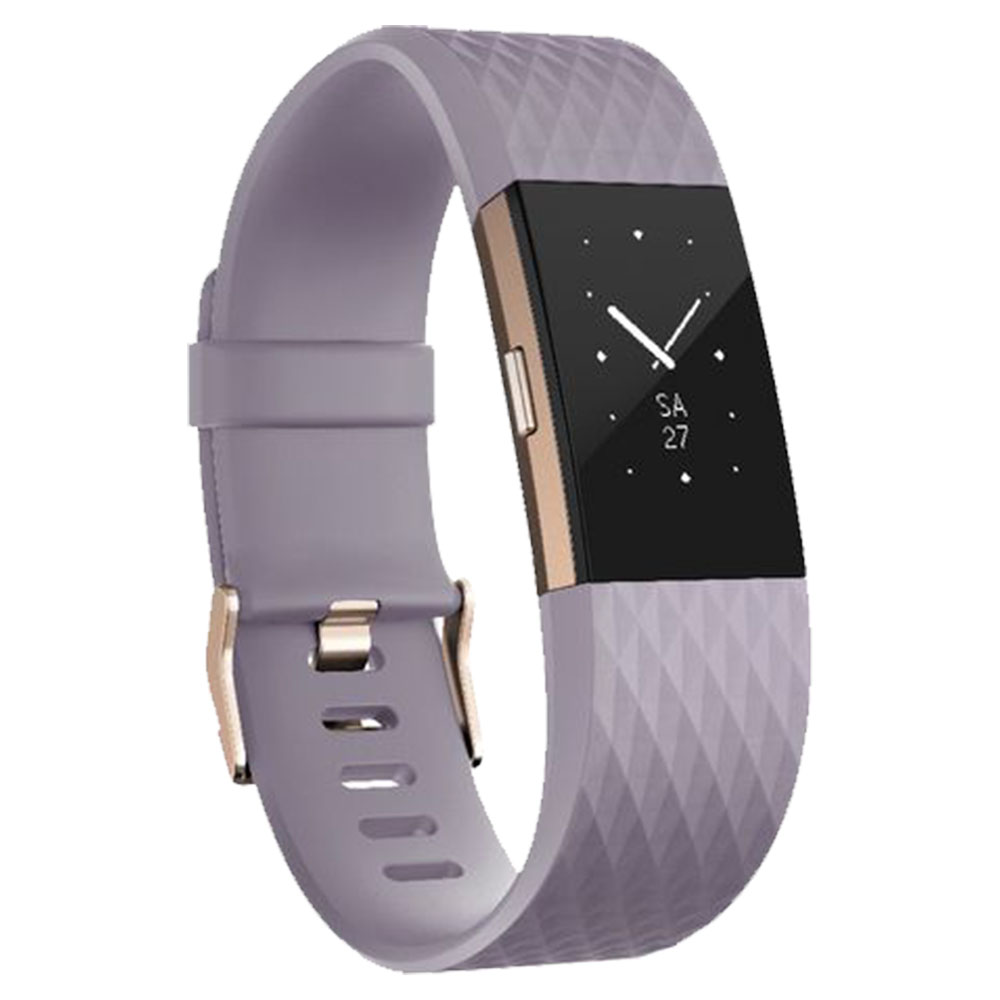 Fitbit Charge 2 Heart Rate And Fitness Wristband, Special Edition - Lavender - Rose - Gold - FB407RGLVS-EU
