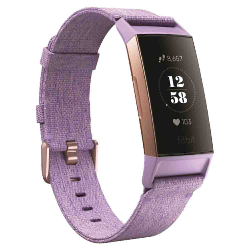Fitbit Charge 3 Fitness Activity Tracker - Lavender Woven - Rose Gold - FB410RGLV-EU