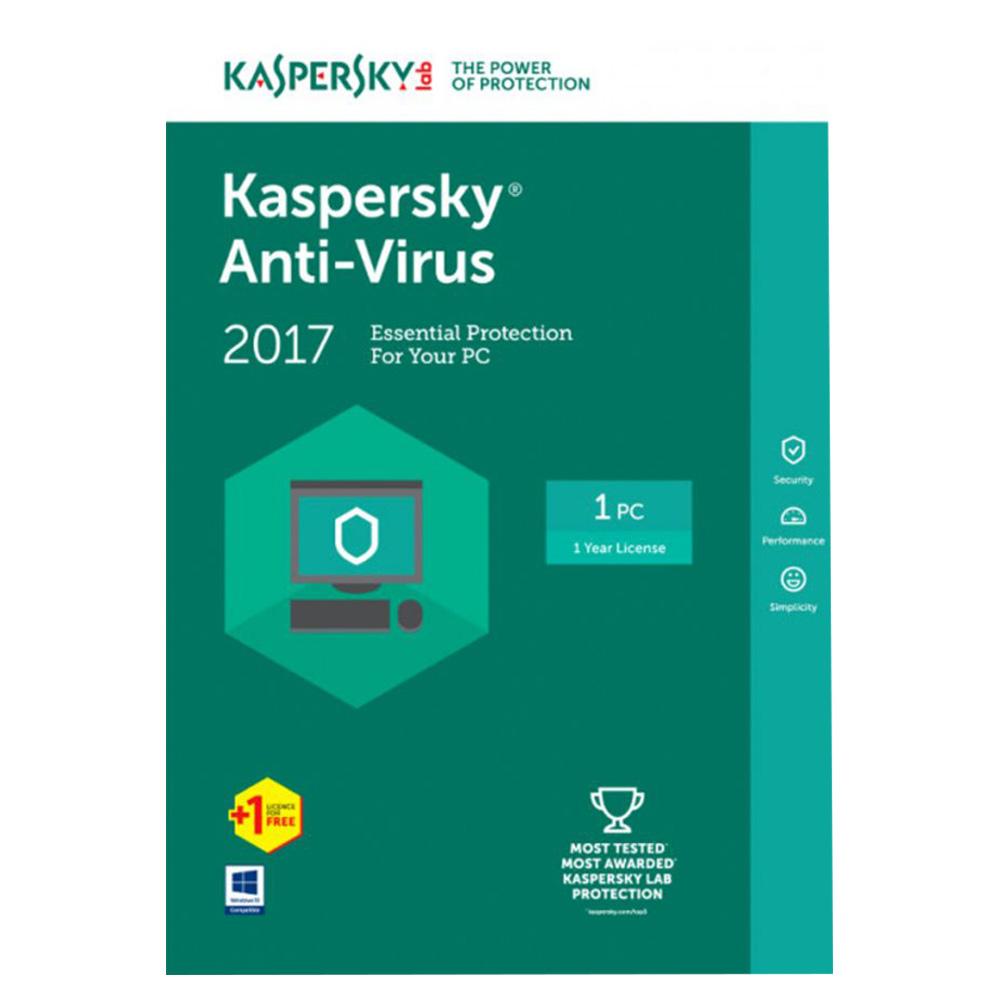 Kaspersky Anti Virus 2017 1+1 User Multicolor KAV2PCRT2017