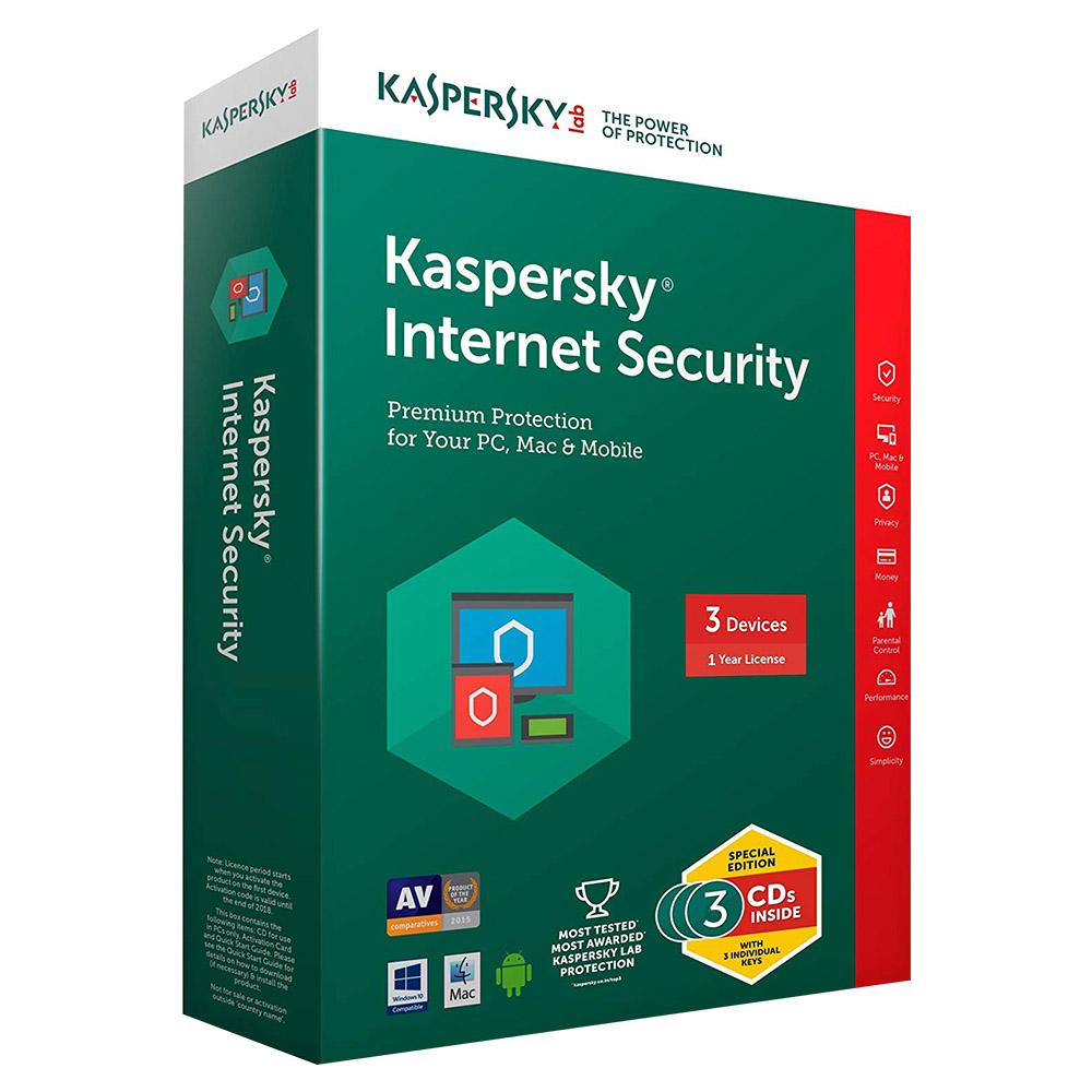 Kaspersky Internet Security 2018 1 User - 3 Devices - KIS4PCRT2018