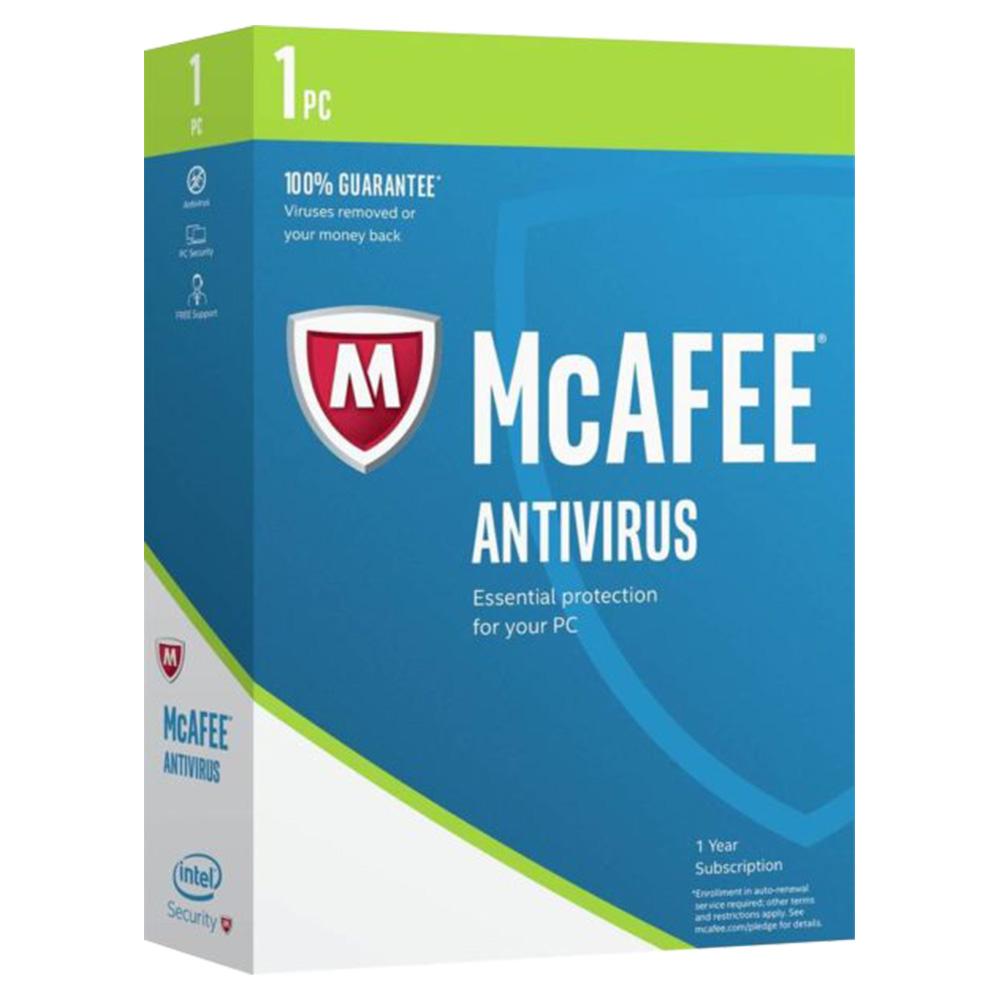 McAfee Antivirus 2017 Software 1 User - MAB17AMB1RAA