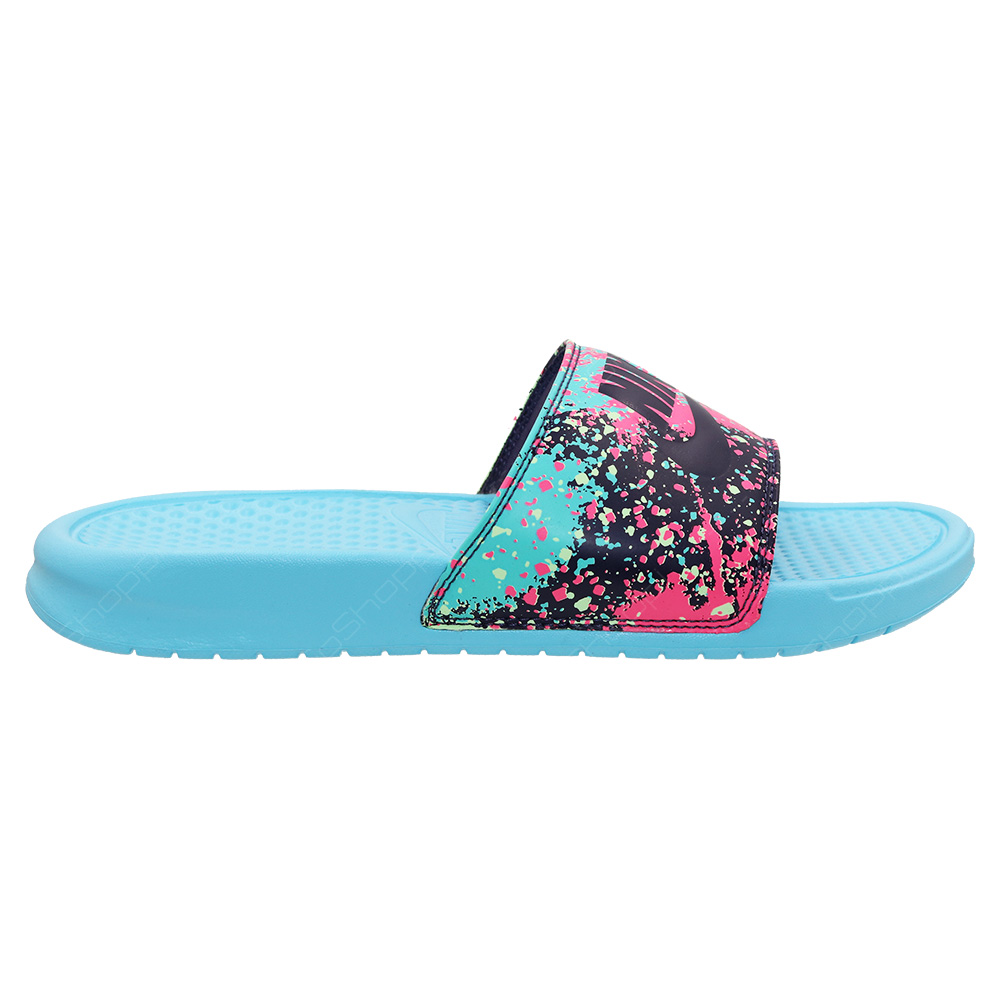 28d88d6326f0 Nike Benassi JDI Print Slides For Women - Polarized Blue - Dark Raisin -  618919-