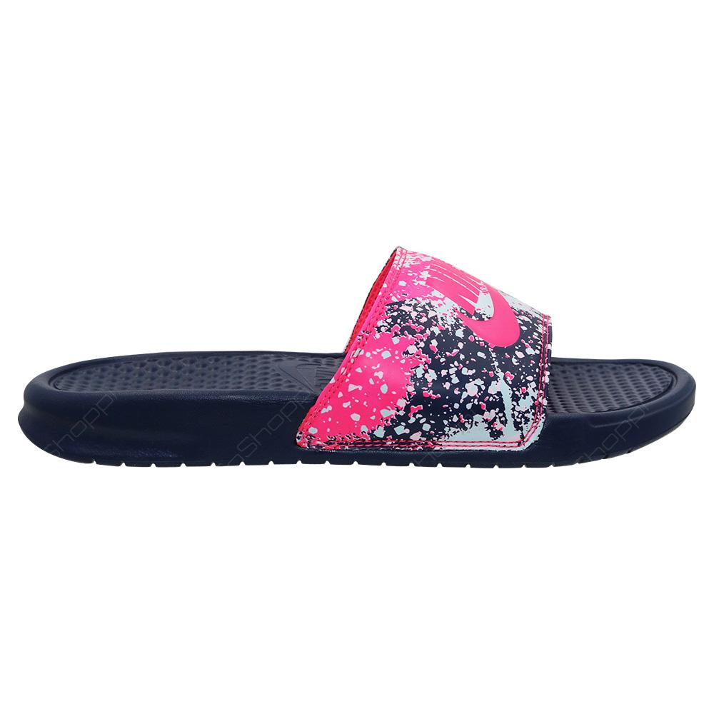 bb6e2e222e04e0 Nike Benassi JDI Slides For Women - Midnight Navy - Racer Pink - 618919-401