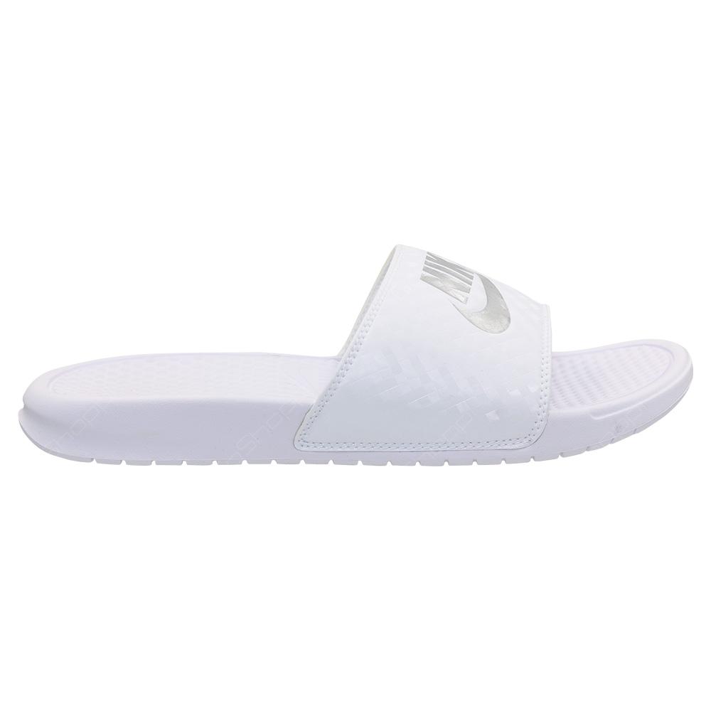 d73ef1f7dd5850 Nike Benassi JDI Slides For Women - White - Metallic Silver - 343881 ...