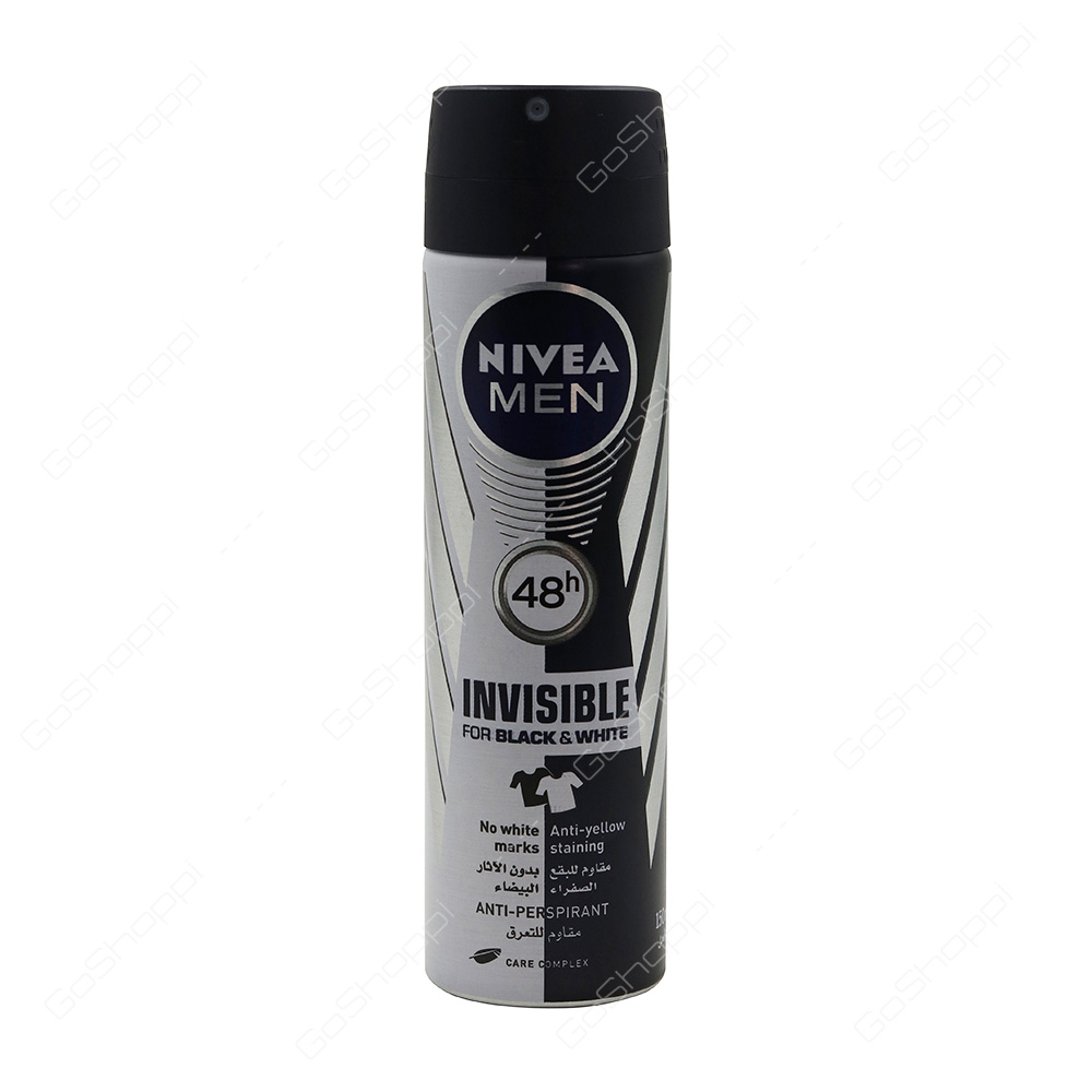 Nivea Men Invisible For Black And White Deodorant Spray 150 Ml Buy