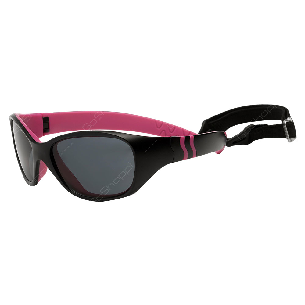 Real Kids Shades Adventure Polarized Sunglasses For Girls Age 4 to 6 With Removable Band - Black Pink