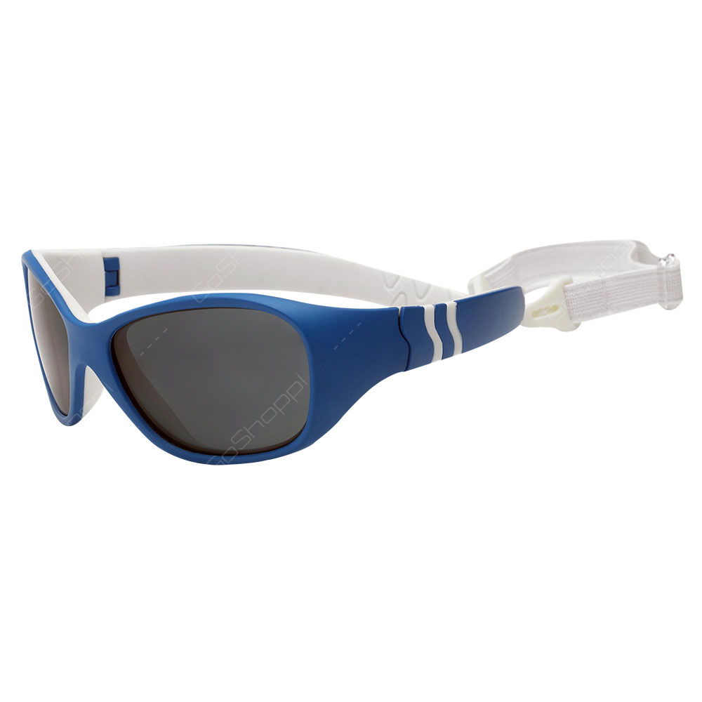 Real Kids Shades Adventure Polarized Sunglasses For Unisex Age 4 to 6 With Removable Band - Blue White