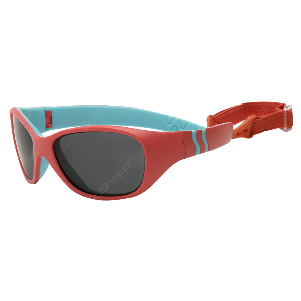 Real Kids Shades Adventure Polarized Sunglasses For Unisex Age 4 to 6 With Removable Band - Coral Blue