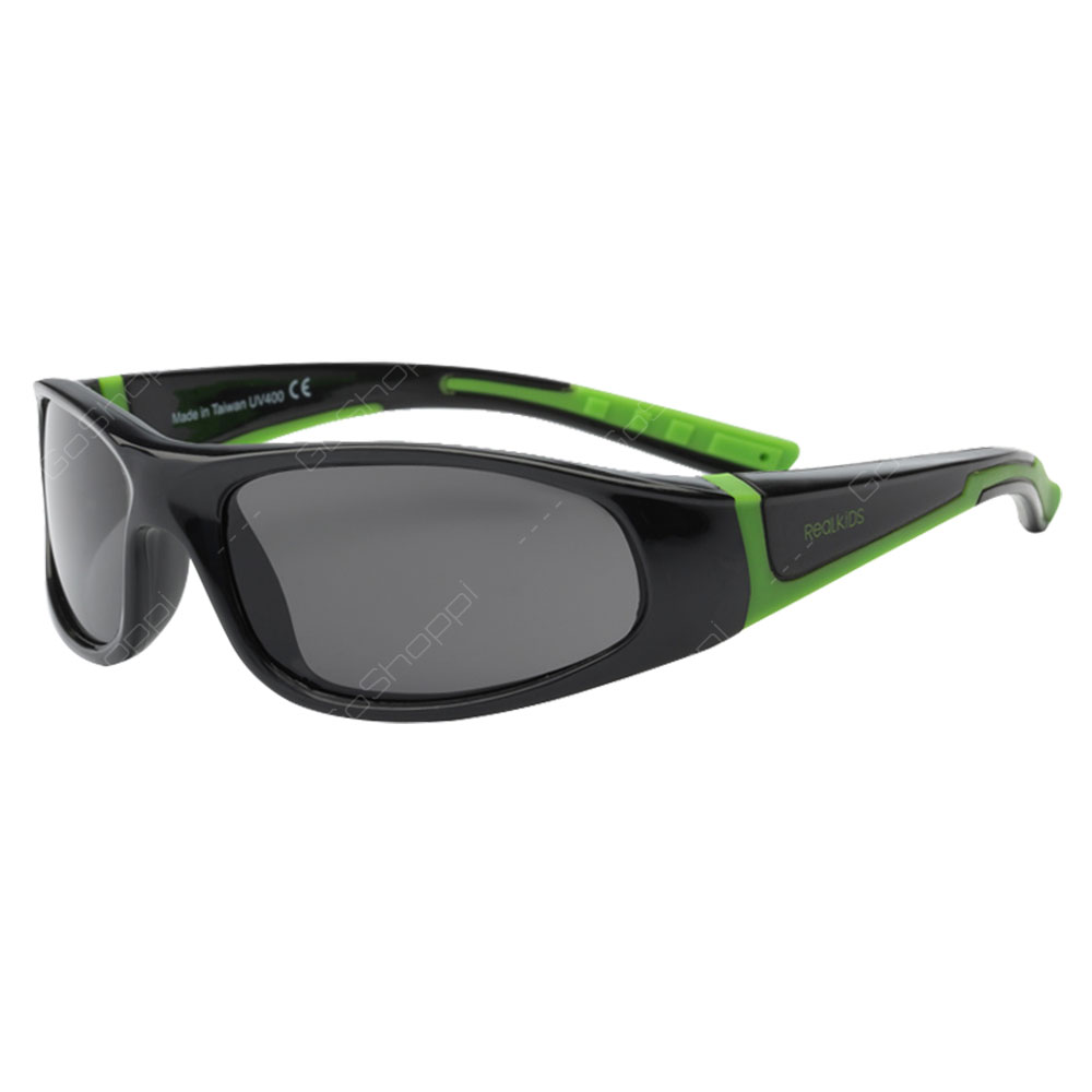 Real Kids Shades Bolt PC Sunglasses For Boys Age 4 to 6 - Black Lime Green