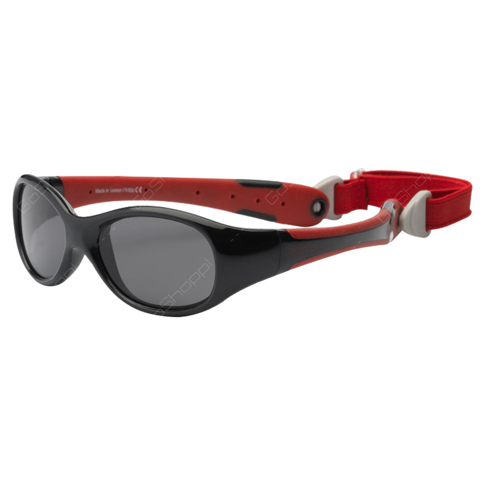 Real Kids Shades Explorer Polarized Sunglasses For Toddlers With Removable Band - Black Red