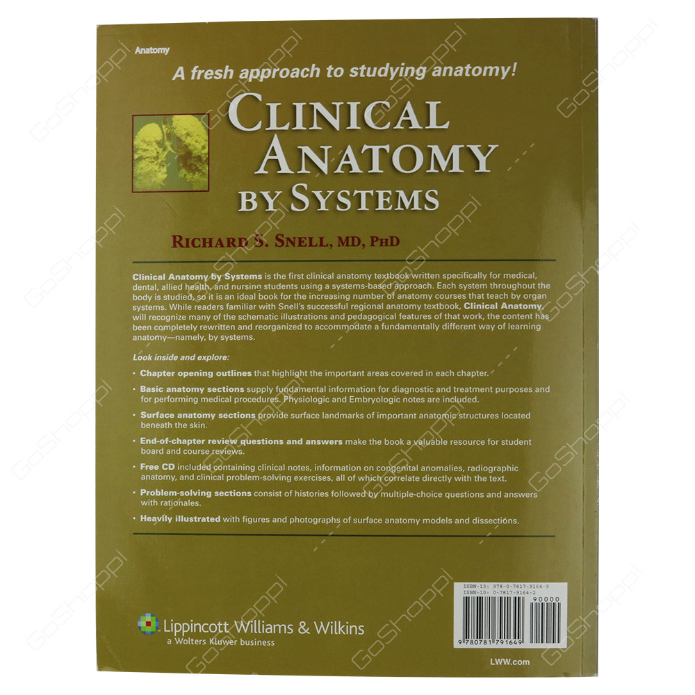 Clinical Anatomy By Systems By Richard S Snell Buy Online