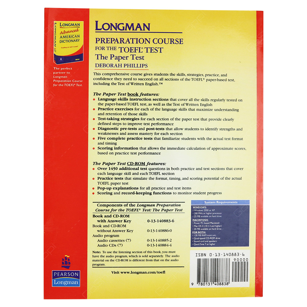 ... Longman Preparation Course For The TOEFL Test - The Paper Test With Answer  Key ...