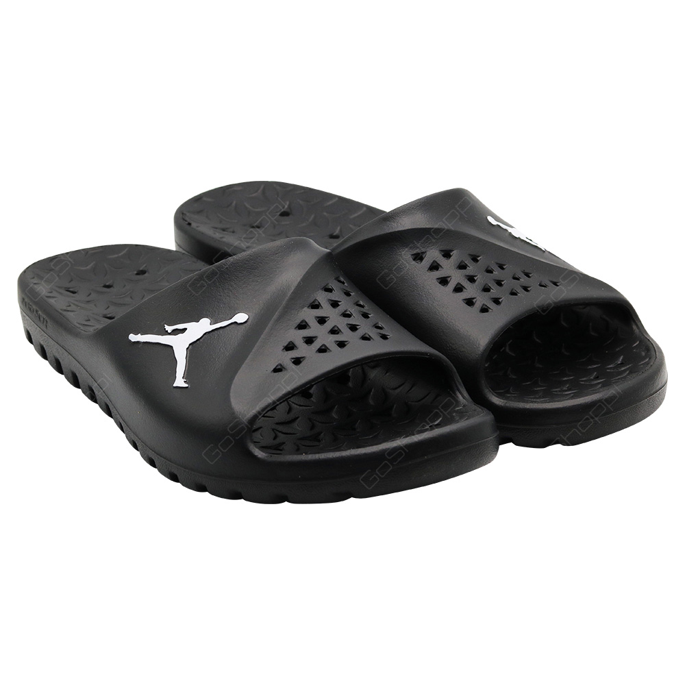 7b70cb26aaeb8 ... Nike Jordan Super Fly Team Slide For Men - Black - White-Black - 716985  ...
