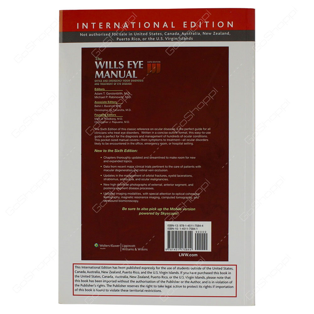 ... Wills Eye Manual Office And Emergency Room Diagnosis And Treatment Of  Eye Disease By Adam T ...